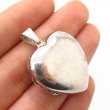 925 Sterling Silver Puffy Heart Locket Pendant
