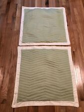 2 Euro Size Quilted  Pillow Shams 100% Cotton Green Yellow By Nautica