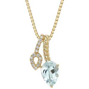 14K Yellow Gold Aquamarine and Lab Grown Diamond Teardrop Pendant, 1.63 Carats