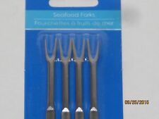 Seafood Forks 4 Pack - Crab Legs Lobster Appetizers Tiny Fork Shrimp Olives Bar