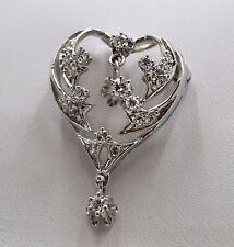 14K White Gold Heart Pendant/Brooch