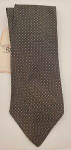 RRL RALPH LAUREN DOUBLE RL Silk Black & White Geometric Print Necktie ITALY NWT.