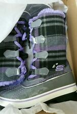 BNIB Skechers Little Girls Highlanders Charcoal & Lilac Winter Boots, UK 11