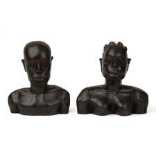 PAIR VINTAGE CARVED AFRICAN WOODEN BUSTS 20TH C.