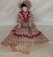 "ANTIQUE CHINA HEAD DOLL BLACK HAIR ALL ORIGINAL GERMANY 11"" $18.88"