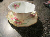 Burton & Burton Cup and Saucer - Pink Roses with Blue Bow & Gold Trim