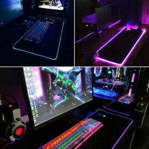 New Large RGB Colorful LED Lighting Gaming Mouse Pad Mat 800*300mm for PC Laptop