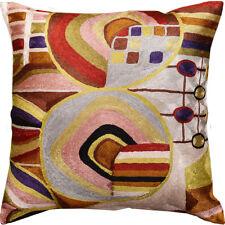 """Hundertwasser Biomorph II Accent Pillow Cover Handembroidered Art Silk 18x18"""""""
