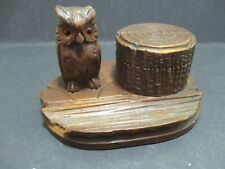 BLACK FOREST OWL WITH TREE STUMP INKWELL
