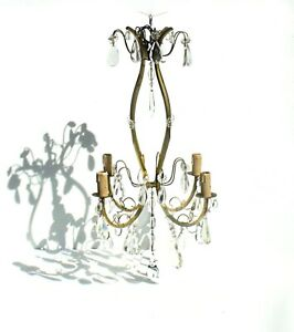 Antique  French Tall Elegant Birdcage Bronze 4 bulb Chandelier Crystal Drops