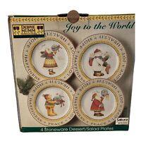 SAKURA Debbie Mumm Joy to the World 4 Stoneware Dessert/Salad Plates Christmas