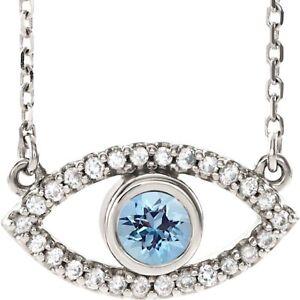 Evil Eye Necklace Aquamarine 14K White Yellow Rose Gold Quality Piece