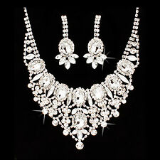 Stunning Faux Diamond Necklace and Earring Set Sexy Bling Radiant Bridal Formal