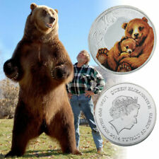 Dibujos animados de oso pardo Hoja de plata Colección de monedas conmemorativas