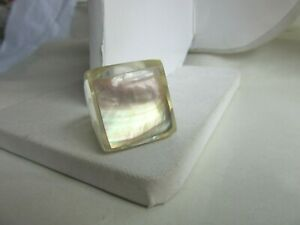Clear lucite and Mother of pearl large square statement ring - size 6