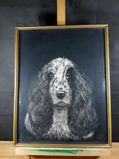 RUSS COCKER SPANIEL LOVELY UNUSUAL SGRAFFITO SCRATCHED PAINTING??? SIGNED ELI 77