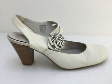 Marc Art of Walking White Leather Strap Heels Women Formal Shoes Size UK 5 EU 38