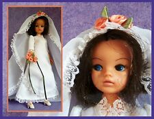 Vintage doll, Sindy in blushing bride dress, 1978, with basketwork chair
