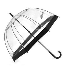 Clifton Royal Dome Birdcage Clear Umbrella Black  Trim Wedding Or Rain