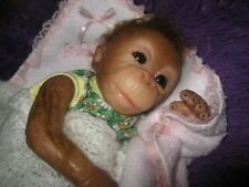 "10"" Solid Silicone Reborn Baby Chimpanzee Monkey ONA by Melissa McCrory"