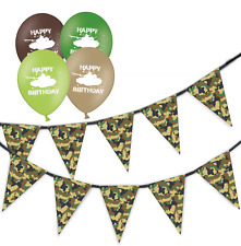 army green camouflage bunting & assorted happy birthday tank balloons pack of 5