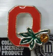 NCAA OSU Ohio State Buckeyes Logo Pin Crystal Stone & Buckeye Nut Gold Plate NEW