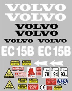 Decal Sticker set. VOLVO EC15B. Mini Digger Pelle Bagger Excavator