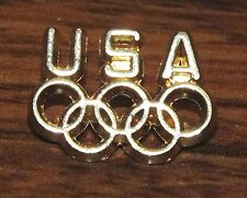 """Small Vintage """"USA"""" Olympics Team Gold Toned Rings Collectible Brooch / Pin-Back"""