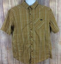 Arc'teryx Short Sleeve Shirt Large Brown Beige Plaid Check Hiking Button Front