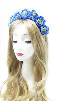 Kornblume blau Hahnenfuß Blumen Haar Krone Stirnband Girlande Fest Rose V41