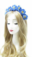 Cornflower Blue Ranunculus Flower Hair Crown Headband Garland Festival Rose V41