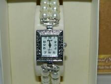 Women's CAY White Simulated Pearl  Bracelet watch White Dial ,stone set bars