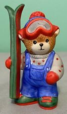 Vintage Lucy & Me Bear-Enesco-1988 Blue and Grey Skier Holding Green & Red Skis