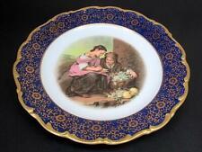 Waldershof Fruit Seller Cabinet Dinner Plate c1920's Golden Floral Cobalt Blue