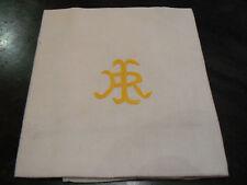 ancien monogramme IR jaune brodé sur serviette coton 1