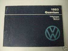Vw Owners Manual Volkswagen 1983 Quantum New 87