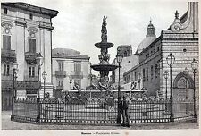 Messina: Piazza Duomo,Fontana di Orione.Grande Veduta.Sicilia.Stampa Antica.1892