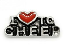 Silver Floating Charm for Memory Lockets 1pc I Love To Cheer Red Heart Antiqued