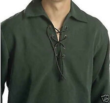 """Sale Offer"" Large Green Deluxe Scottish Jacobean Ghillie Shirt 4 Kilt To CLEAR"