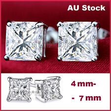 925 STERLING SILVER SQUARE CT LAB DIAMOND MENS WOMENS KIDS SOLID STUD EARRINGS