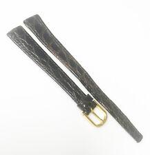 Zenith Genuine Original Crocodile 11.5mm Black Leather Gold Buckle Watch Band