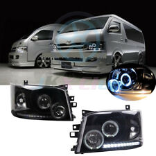 For Toyota Hiace 200 Van 2005-2010 Black Lens Angel-eye COB LED h Headlight Lamp