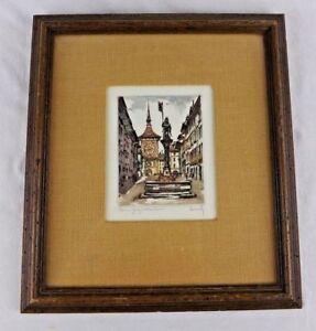 Hand Colored Etching Roger Hebbelinck Framed Signed 5 x 6 VINTAGE Art Work