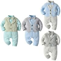 Baby Boys Cotton Gentleman Outfits Romper Bodysuit Infant Formal Party Clothes