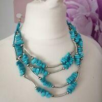 New Per Una Multi Strand Blue Stone Silver Beaded Layered Calypso Necklace