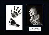 Personalized Newborn Hand print Footprint Kit Baby Shower Gift Christening