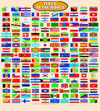HUGE LAMINATED WORLD COUNTRY FLAGS LEARNING EDUCATIONAL KIDS POSTER WALL CHART