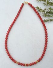 Red Coral Bead Necklace 18 inch  Gold Vermeil Beads Clasp