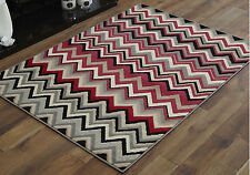 Modern 8-10mm Thick - Large 120 X 170 Cm Budget Clearance Alpha Design Rugs 9. Wave Grey Red Pink Black