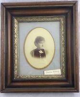 Antique Victorian Era Deep Walnut Portrait Picture Frame Gold Gilt Trim 12x14